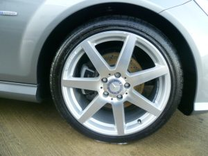 Close up shot of Mercedes Benz wheels following valet by mmvaleting